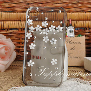 Fashion crystal flowers case For iPhone 4S/5S/5C cell Phone case for iPhone 6 Or iPhone6 Plus cover