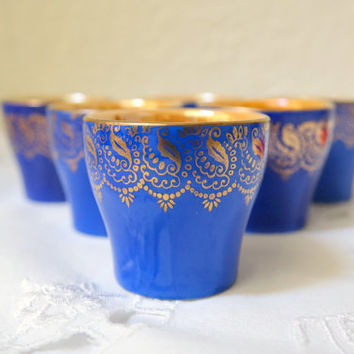 Set of Six Cordial Glasses Cobalt Blue and Iridescent Winterling Porcelain Bavarian Barware