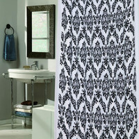 """Royal Bath Collection King's Seal Regal Fabric Shower Curtain with Poly Taffeta Flocking in Black/White Size: 70"""" x 72"""""""