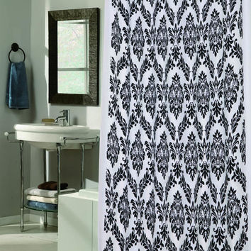 "Royal Bath Collection King's Seal Regal Fabric Shower Curtain with Poly Taffeta Flocking in Black/White Size: 70"" x 72"""