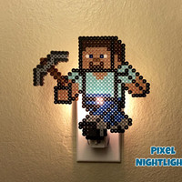 Minecraft Steve | Nightlight | Night Light | Wall Decoration | Size Large