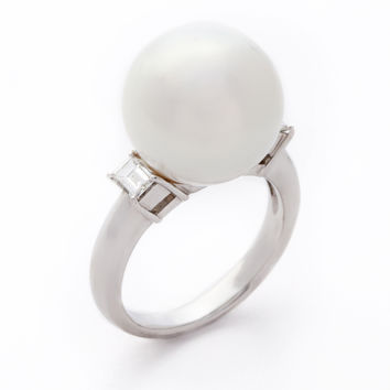 Tara Pearls Women's White Pearl, Diamond, & Platinum Ring - White