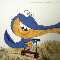 The joyride, Childrens Room Art, Fine Art Print, watercolour and gouache illustration, crocodile on scooter