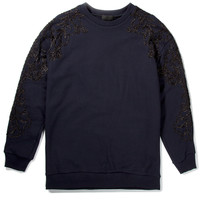 3.1 Phillip Lim Navy Oversized Pullover with Metallic Floral Applique | HYPEBEAST Store. Shop Online for Men's Fashion, Streetwear, Sneakers, Accessories