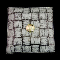 Vintage Mid Century Flush Mount Ceiling Light Fixture with Basketweave Glass Shade