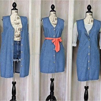 Sleeveless denim dress / jumper / long vest / M size 8 / 10 / 90s jean dress /  boho / grunge / hipster