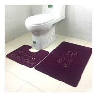 Embroidery Toilet Seat 2pcs Set Foot Mat Carpet hippo
