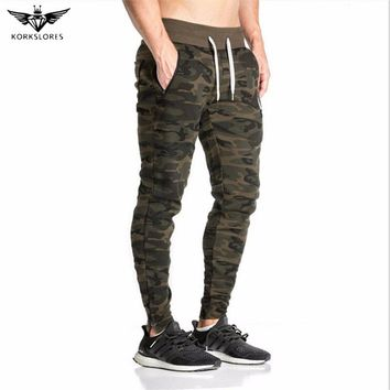 KORKSLORES 2017 Men camouflage Gyms Pants Casual Elastic Mens Fitness Workout Pants skinny Sweatpants Trousers Jogger Pants