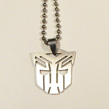 Transformers Necklace, Stainless Steel Transformers Necklace, Transformers, Autobots, Optimus Prime, Fandom Jewelry, Unisex Necklace