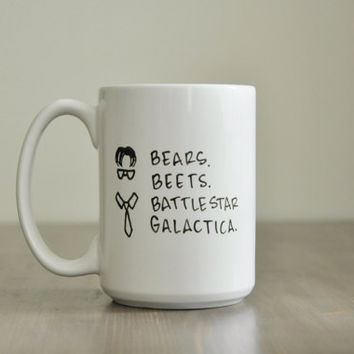 The Office Mug. Bears Beets Battlestar Galactica Mug. Dwight Mug. Funny Mug. Television Show. The Office. Gift Mug.
