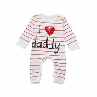 Baby Girls Infant Letter Print Long Sleeve Clothes Jumpsuit Romper