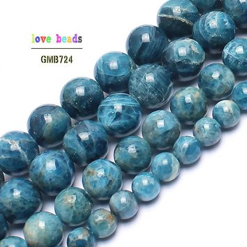 AA+ Natural Genuine Blue Ocean Apatite Stone Round Beads For Jewelry Making 15inches 4/6/8/10/12mm Semi-Precious Stone Beads