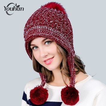 YOUHAN 2017 Skullies Beanies Fashion Women Hat Winter Solid Thicken 3 Ball Lovely Lady Warm Hat Knitted Wool Cap Drop Shipping