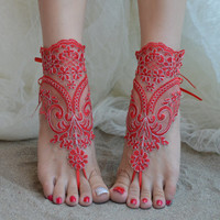 Red barefoot sandals, Burgundy barefoot silver frame , lace sandals, wedding anklet, Beach wedding claret red silver frame barefoot sandals