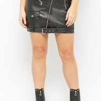 Plus Size Faux Leather Belted Mini Skirt