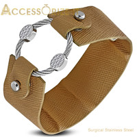 Faux-Leather Bracelet with stainless steel Pave-set oval