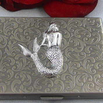 Cigarette Case, Mermaid, Wallet, Business Card Case, Gift, Vintage Inspired King Sized Cigarette Holder