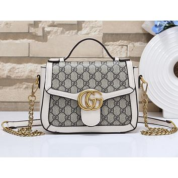 GUCCI Fashionable Women Retro Leather Metal Chain Handbag Crossbody Satchel Shoulder Bag White