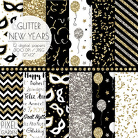 SALE. New Years Eve Digital Paper. Gold, Silver Glitter New Year's Celebration. Glam, Sparkle, Confetti. Black & Gold 2017 Party Patterns.