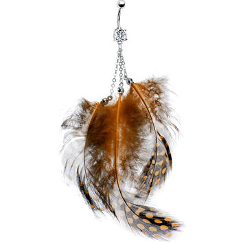 Brown Feather Belly Ring