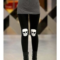 FREE SHIPPING Elastic Cotton Skull Heads PrintingBlack Legging M/L from DressLoves