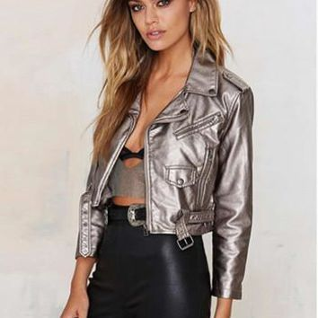 2016  Fashion Punk Short Leather Jacket