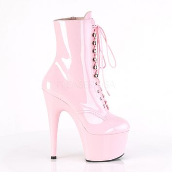 "Adore 1020 Lace Up Ankle Boot Baby Pink Patent - 7"" High Heels"