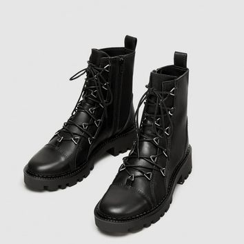 LEATHER BIKER ANKLE BOOTS WITH METAL DETAILS DETAILS