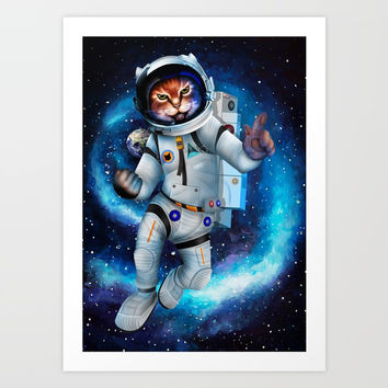 Space cat iPhone 4 5 6 7, ipod, ipad, pillow case and tshirt Art Print by Three Second