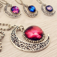 Harajuku galaxy moon necklace
