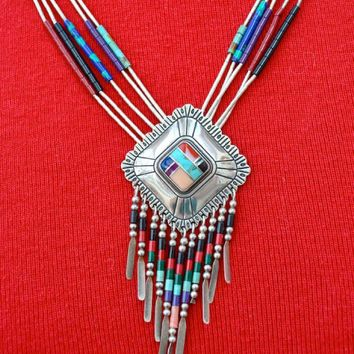 Liquid Sterling Silver and Semi Precious Inlaid Necklace and Earrings Southwest Vintage