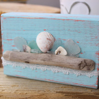 Boho Beach Driftwood Art , Unique Beach house Decoration, Seaglass Home Decor