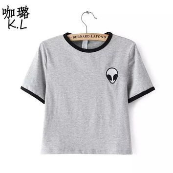 Free Shipping 2017 Women T-shirt Short Alien UFO Printed Tumblr Fashion Sexy Cute Female Tee Tops Shirts Cheap Clothes China