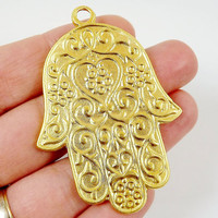Hamsa Hand of Fatima Pendant Charm - 22k Matte Gold Plated - 1PC -  GP181