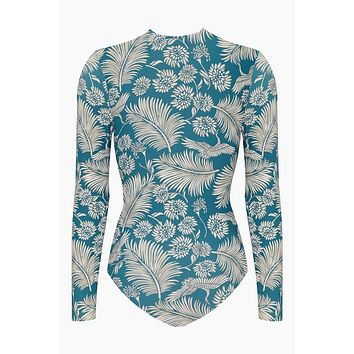 Savanhah Long Sleeve Rashguard Bodysuit - Caribbean Blue Tropical Print