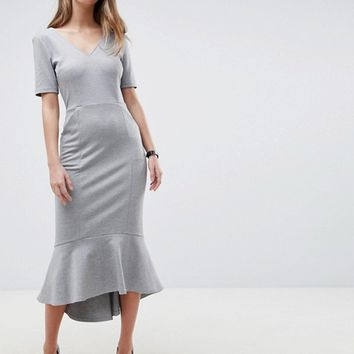 ASOS DESIGN Pep Hem Midi Dress With V Neck And Pockets at asos.com
