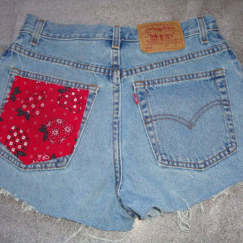 STRAWBERRY  red floral handkerchief Custom jean denim LEVI high waist  frayed cuff shorts made to order all sizes