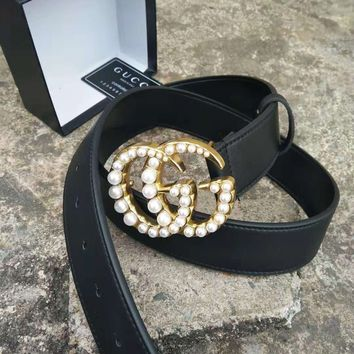 GUCCI Tide brand retro pearl buckle double G smooth buckle belt