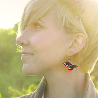 Bullfinches birds earrings red and black