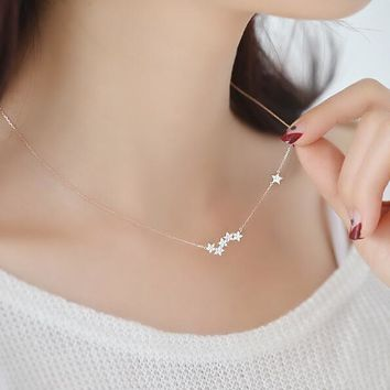 Jisensp New Arrival Zircon Star Pendants&Necklaces Jewelry for Women Fashion Necklace Party Gifts SYXL053