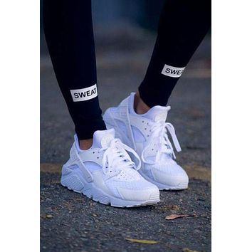 """Nike"" Air Huarache Trending Women Men Casual Running Sport Shoes Sneakers Pure White I"