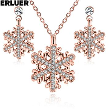 ERLUER Crystal jewelry sets for women rose gold silver color fashion snowflake Charm pendant necklace earring jewellery set