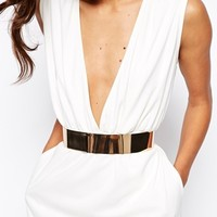 AQ AQ Curtis Plunge Neck Maxi Dress with Sephere Belt