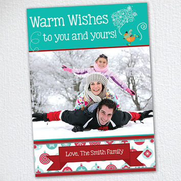 Holiday Photo Card / Warm Wishes Christmas Photo Card / Print at Home