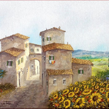 Italian painting Tuscany alley sunflowers field original oil on canvas of Luciano Torsi Italia Italy