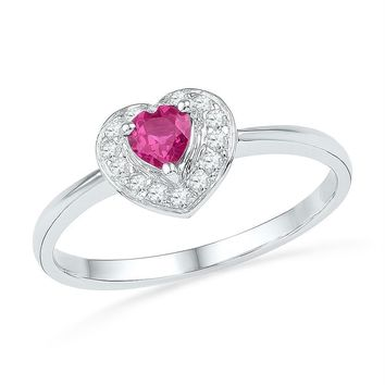 Sterling Silver Women's Round Lab-Created Pink Sapphire Heart Diamond Ring 3/8 Cttw - FREE Shipping (US/CAN)