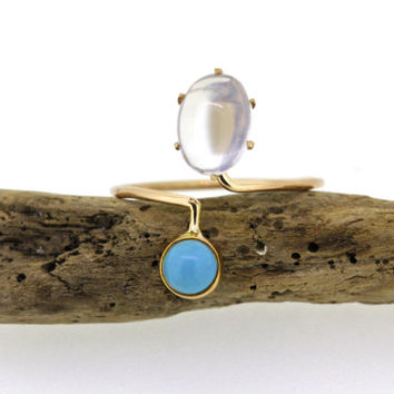 Antique Moonstone Ring | Persian Turquoise Ring | Bypass Ring | Dainty Stacking Ring | Recycled Rose Gold Ring | Thin Gold Ring | Size 5 1/4