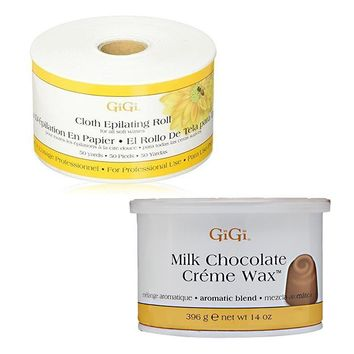 GiGi Cloth Epilating Roll 50 yards + Milk Chocolate Creme Wax 14 oz