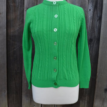 Vintage Sweater Cardigan, Spring Green Acrylic Sweater, Size Small, Button Down, circa 1960s