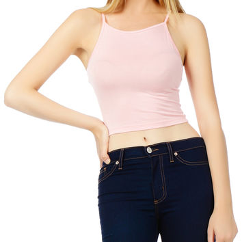 Stretchy Solid Cropped Tank Top